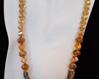 Orange Amber Glass Necklace