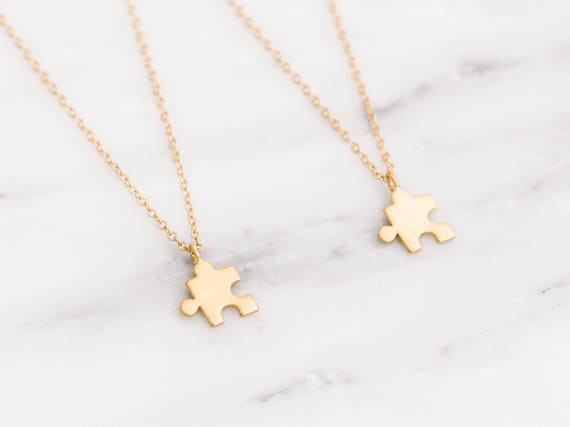 Gold Puzzle Necklace Best Friend Necklace Set Gold Puzzle