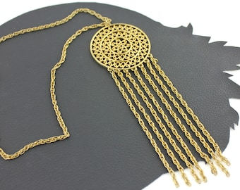 Bohemian Gold Chain Fringe Necklace