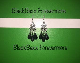 Chandelier dangle earrings with three death black enchanted beads toying with the moon and flirty with the darkness.