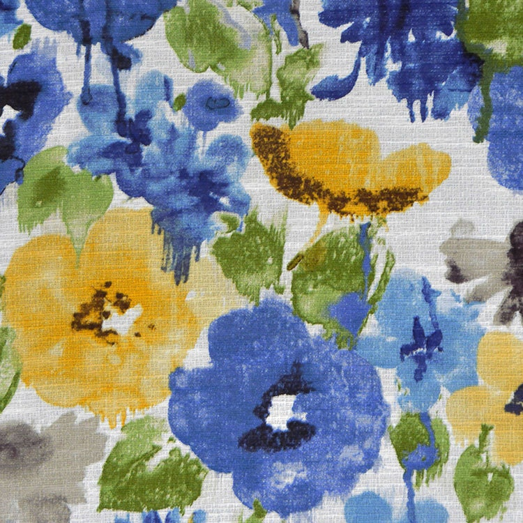 Royal Blue Watercolor Floral Upholstery Fabric Green Yellow