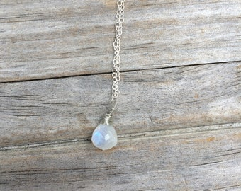 Rainbow Moonstone Necklace, Tear drop necklace, Wire wrapped, Gemstone Necklace, Sterling Silver Necklace, Simple Necklace, gifts for her