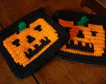 Pumpkin Potholders - Black and Orange Halloween Potholders - Pot Holders - Jack O Lantern Potholders  - Spooky Holiday Kitchen MADE TO ORDER
