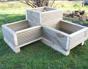 Corner Decking wooden garden planter, L shaped planter, wood trough,timber herbs planter, handmade