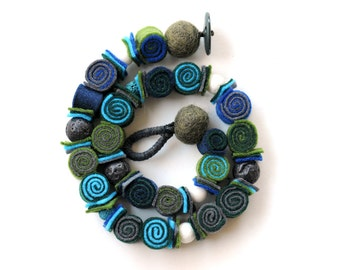 Felt necklace, Felted necklace, Green blue necklace, Felt jewelry, Long necklace, Rope necklace, Grandma Mom gift, Girlfriend gift, Under 30