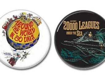 Jules Verne Buttons set of 2! (25mm, badges, pins, botones, children's books, sci fi, fables)
