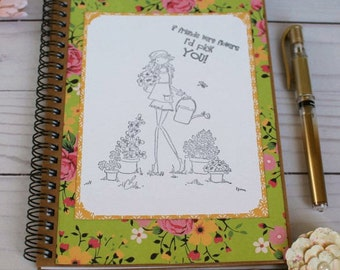 DIY Notebook Journal If Friends Were Flowers Spiral Notebook Colorable Writing Journal Stamping Bella Lined Notebook