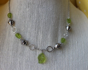 Acorn and Leaf Necklace (Silver)