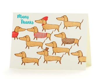 "4B Dachshunds ""Many Thanks "" set of 6 letterpress cards"