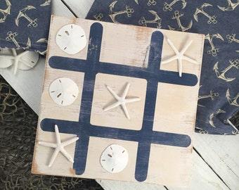 "Nautical Tic Tac Toe, 12x12"", coastal board game, tic-tac-toe, collectible game, beach decor, family gift"