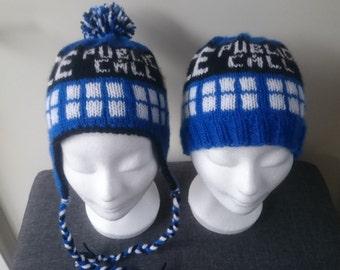 Tardis Earflap hat or Beanie Hat