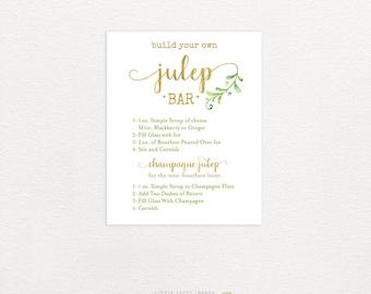 Julep Bar Recipe. Build Your Own Mint Julep. Kentucky Derby Party Sign. Oaks Party. Kentucky Derby Printables. Hostess Gift. DIY.