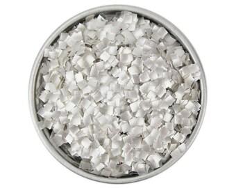 Silver Square Edible Glitter - metallic silver square edible glitter sprinkles, silver square sprinkles