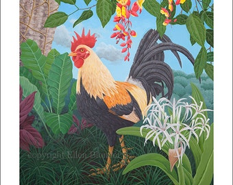 Kauai Rooster with Spider Lily, Small Giclee Print