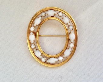 Beautiful Milk Glass Goldtone Oval Brooch