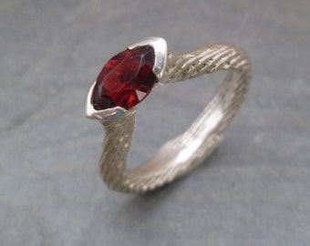 Cuttlefish Bone Cast Garnet Ring
