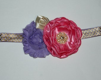 Bright Colored Vintage Style Satin Pearl and Rhinestone Boutique Flower Headband (16 inches Normally Fits 6M - 2T)