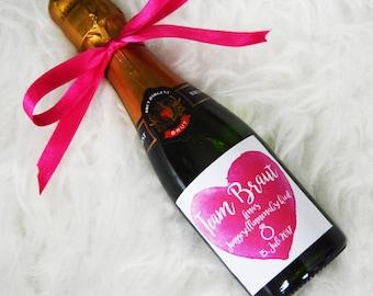 10x Bottle labels Wedding Champagne JGA Team Bride