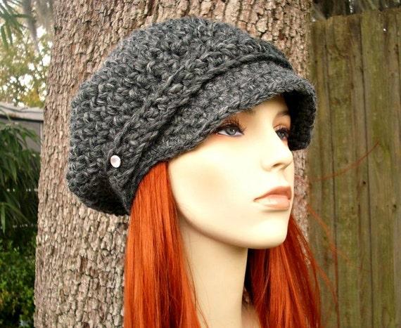 Crochet Hat Womens Hat Grey Newsboy Hat - Crochet Newsboy Hat in Granite Grey Crochet Hat - Grey Hat Grey Beanie Womens Accessories