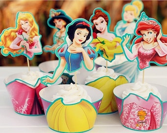 24 pc SET Princess Cupcake Wrapper & Topper Picks Cinderella Snow White Ariel Little Mermaid Belle Aurora Sleeping Beauty Jasmine