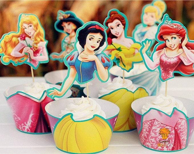24 pc SET Princess Cupcake Wrapper & Topper Picks Cinderella Snow White Ariel Little Mermaid Belle Aurora Sleeping Beauty Jasmine