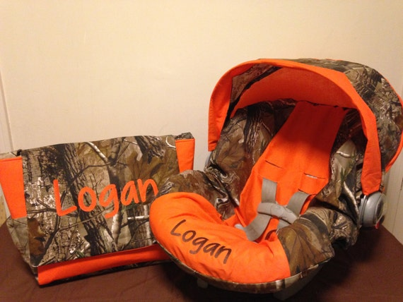 Realtree Fabric Camo Amp Orange Infant Car Seat Cover With