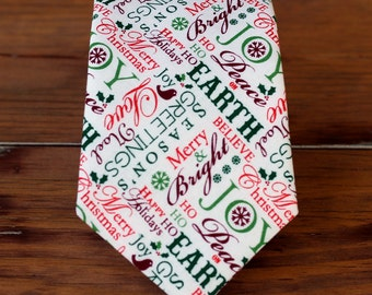 Mens Christmas Necktie - neck tie of seaonal holiday words in red green - men, teen boys necktie - traditional self-tying tie - gift for him