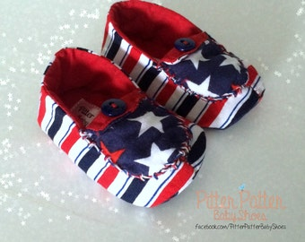 Stars and Stripes Baby Loafers - Baby Soft Shoes - 4th of July - Baby Gift - Patriotic Baby Shoes - 4th of July Baby Shoes - Baby Booties