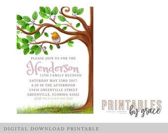 Family Reunion Tree Party Invite DIGITAL Custom Invitacion printable pdf download