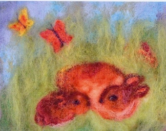 Bunnies, mother and child, wool painting, needle felted picture for children-large size