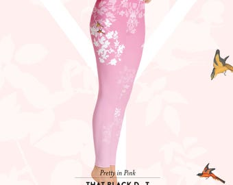Pretty in Pink Yoga Ombré Leggings - Designer Yoga Pants Tights Leggings - That Black Dot Legs