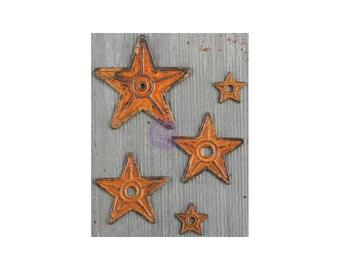 Barn Stars Rusty Metal Stars Star Pendants Rustic Pendants Rustic Decor Rusty Pendants Star Charms 5 pieces *
