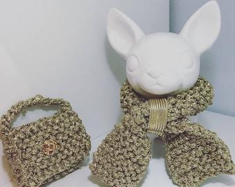 Choker/scarf and bag set has dirt/a chihuahua treat bag
