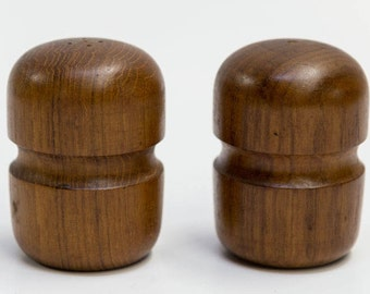 Mid Century Modern Teak Wood Salt & Pepper Shakers
