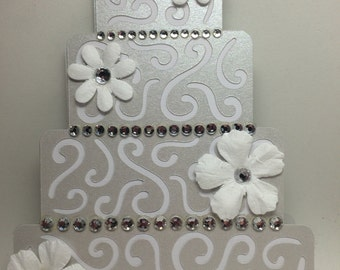 Handmade Die-Cut Wedding Card, Wedding Cake Card