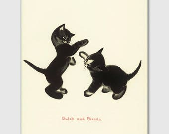 "Cat Office Art Print, Cat Lovers Gift (Cat Vintage, Cat Wall Decor) -- ""Boxing Kittens"""