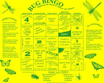 Bug Bingo Game! Learn about the wonderful world of bugs in  a fun way! Great for Scouts, Badges, Kids!