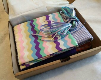 Box of fabric - Purple & Orange