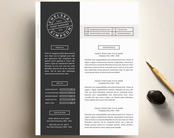 Creative Resume Template and Cover Letter Template for Word   DIY Printable Resume 4 Pack   The Chelsea   Minimalist Modern CV Design
