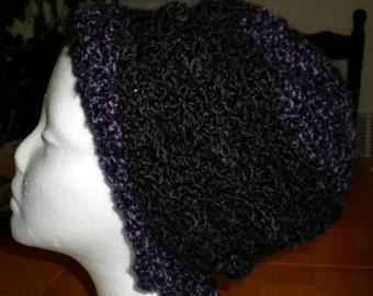 Hat Homespun Black and Gothic yarns
