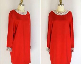 Pamela Dennis Red Dress/ 1980s Holiday Sequin Dress/ Christmas Shift Dress/ NYE/ Womens Size Small to Medium