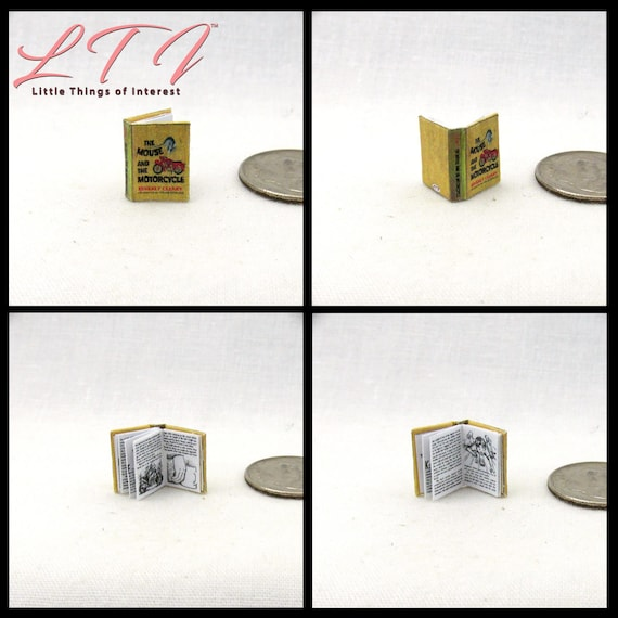 1:24 Scale THE MOUSE And The MOTORCYCLE Illustrated Miniature Book Dollhouse 1/2 Scale