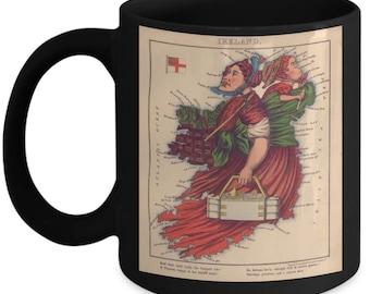 Irish Gift - Gift To An Irish – Quirky Cartography - Irish History – 1860s Vintage Cartoon Mug - Map of Ireland – Irish Unique Gift -