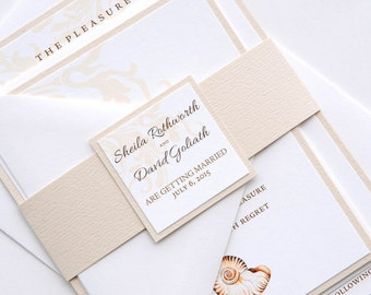 Sea Shell Invitation and RSVP Beach Destination Wedding Suite