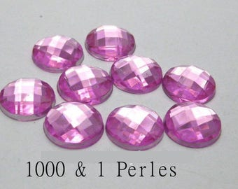 10 appliques round Purple 12 mm 2 holes for customisation