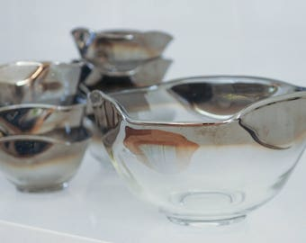 Vitreon Queens Lusterware Silver Fade Ombre Set of Bowls