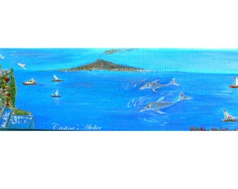 Dolphins Italian seascape vista- Original oil painting on canvas- Panoramic scenic art- Size 4x12in- Contemporary painting- Home decor gift