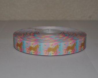 7/8 inch Gold Unicorn with Pastel RainbowGrosgrain Ribbon( 5 yard Package)
