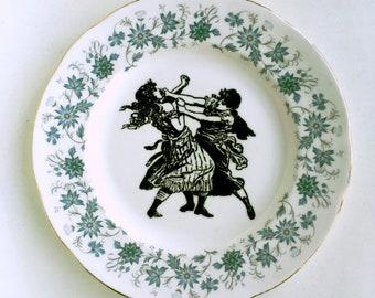 Vintage Plate Victorian Fight Club Altered Art gothic steampunk