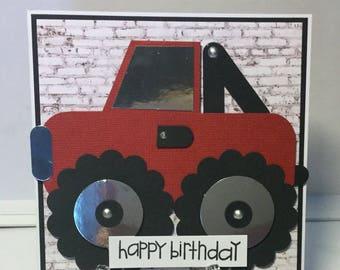 Monster truck birthday card.
